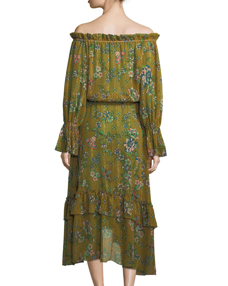 Sofia Off-the-Shoulder Floral-Print Dress w/ Metallic