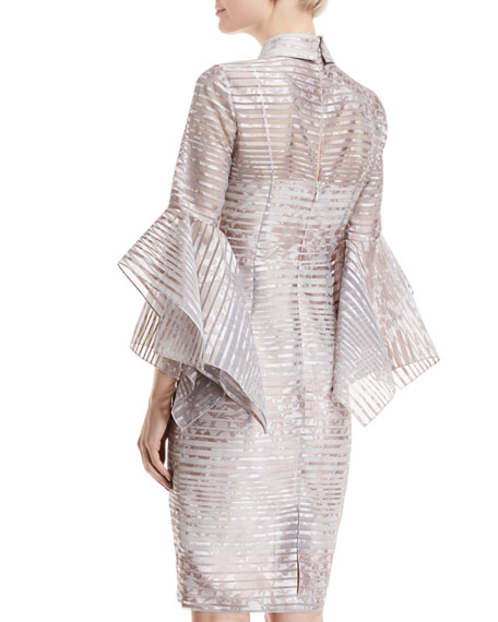 Organza Striped Trumpet-Sleeve Shirtdress