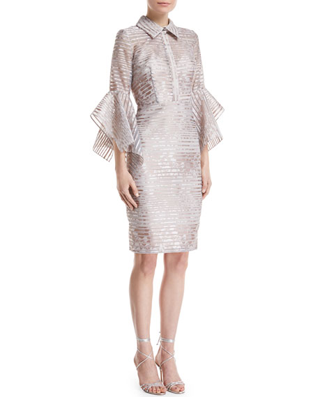 Badgley Mischka Collection Organza Striped Trumpet-Sleeve Shirtdress