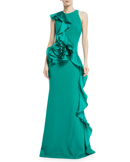Badgley Mischka Collection Sleeveless Sculpt Flower Gown w/