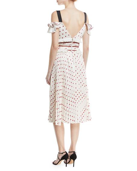 Cold-Shoulder Satin Polka-Dot Midi Cocktail Dress
