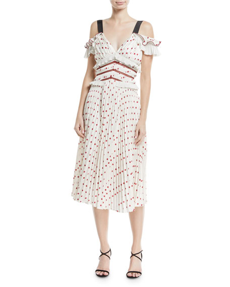 Self-Portrait Cold-Shoulder Satin Polka-Dot Midi Cocktail Dress
