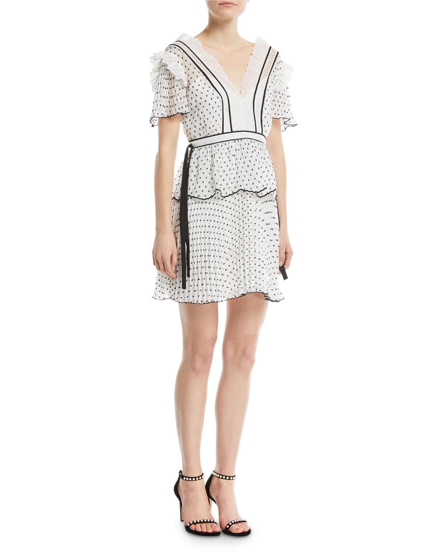 a4fb7d062d1f Self-Portrait V-Neck Short-Sleeve Dotted Frilled Short Cocktail Dress