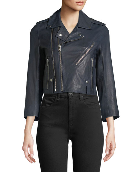 Liyo Cuir Zip-Front Crop Leather Jacket