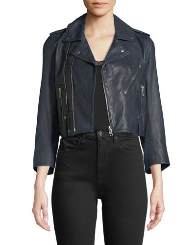 Zadig & Voltaire Liyo Cuir Zip-Front Crop Leather Jacket