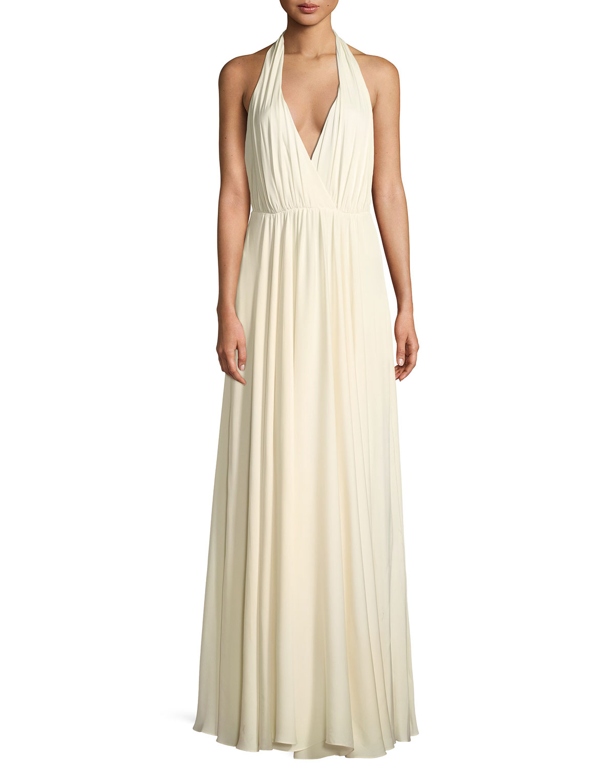 Milly Georgina Silk Stretch Halter-Strap Gown | Neiman Marcus