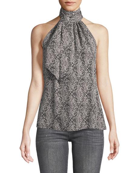 Calla Sleeveless Halter Leopard-Print Silk Blouse