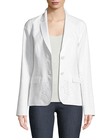 Vangie Lavish Linen Jacket with Embroidery Detail