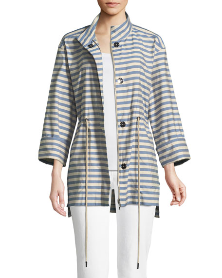 Jayna Vitality-Stripes Zip-Front Jacket