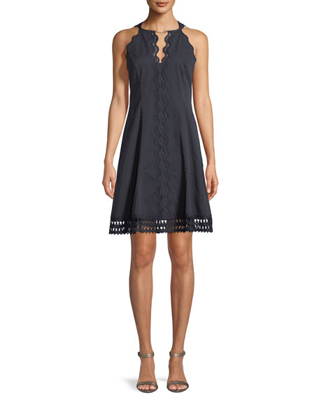 Elie Tahari Keshma Mini Dress w/ Floral Lace