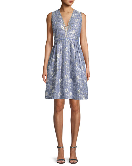 Elie Tahari Jacquelle Sleeveless V-Neck Dress