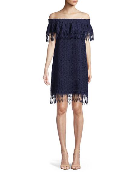 Kalla Fringe Off-the-Shoulder Mini Dress