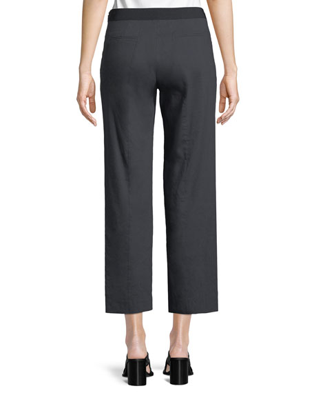Odette Cropped Straight-Leg Pants, Navy