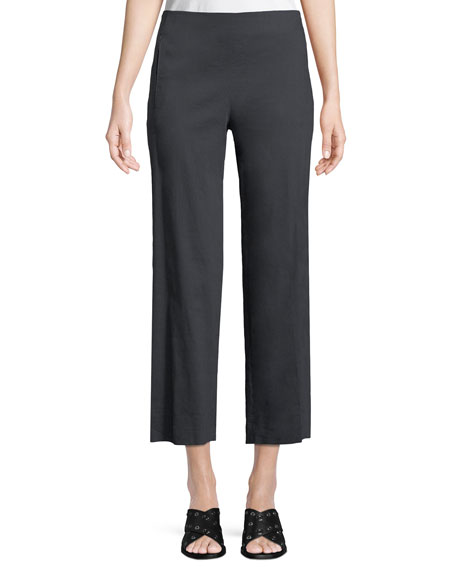 Elie Tahari Odette Cropped Straight-Leg Pants, Navy