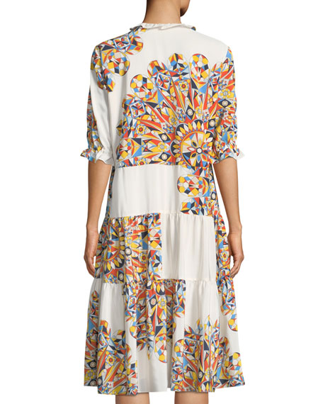 Arabella Psychedelic Geometric Tiered Dress