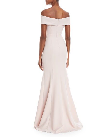 Off-the-Shoulder Crepe Trumpet Gown