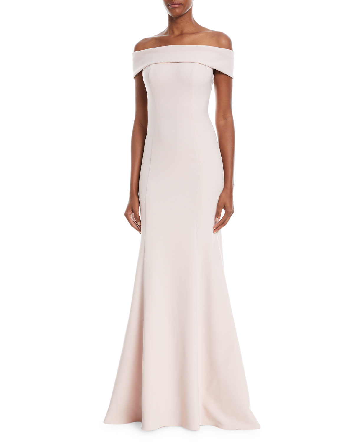 Off The Shoulder Crepe Trumpet Gown