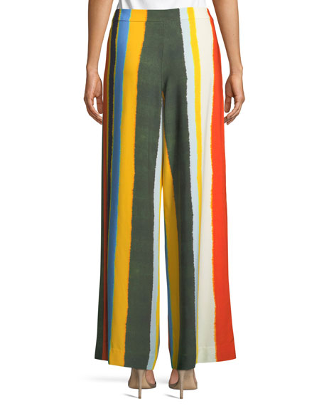 Fiona Striped Wide-Leg Pants