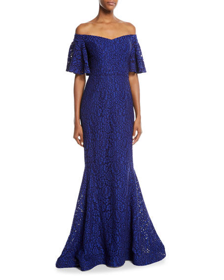 Rickie Freeman for Teri Jon Off-the-Shoulder Lace Mermaid
