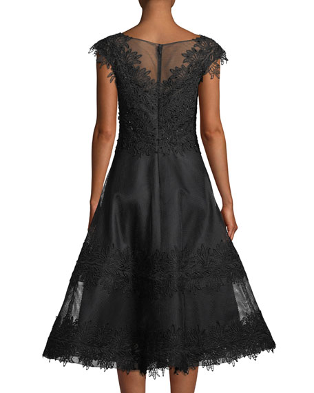 Beaded-Trim Mesh Lace Cocktail Dress