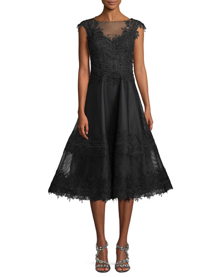 Rickie Freeman for Teri Jon Beaded-Trim Mesh Lace
