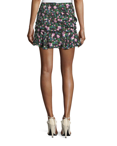 Violet Painted Floral-Print Ruched Mini Skirt