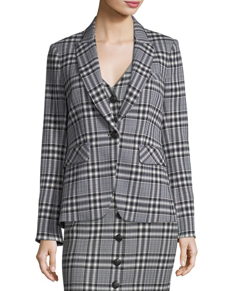 Ada One-Button Plaid Jacket