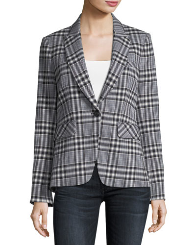 Ada One-Button Plaid Jacket
