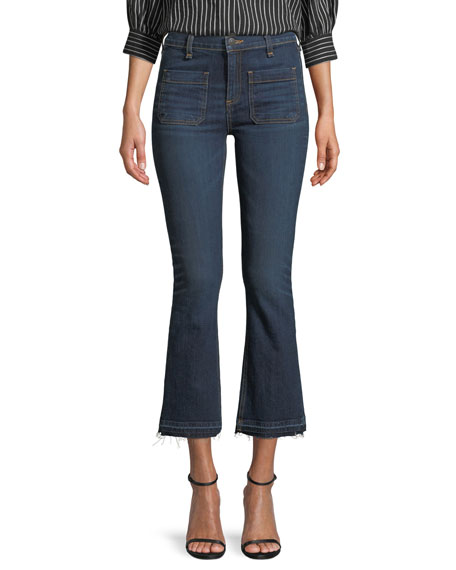 """Veronica Beard Carolyn 10"""" Rise Baby-Boot Jeans with Patch Pocket"""