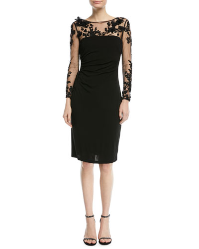 RAYON DRESS W/EMBRDRD MESH