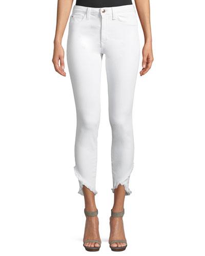 Charlie Mid-Rise Skinny-Leg Tulip-Hem Jeans