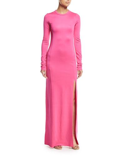 Fallon Crewneck Long-Sleeve Gown w/ High Slit