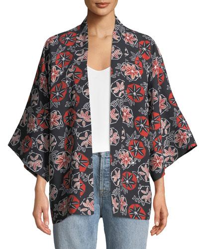 Drew Printed Open Tie-Front Kimono