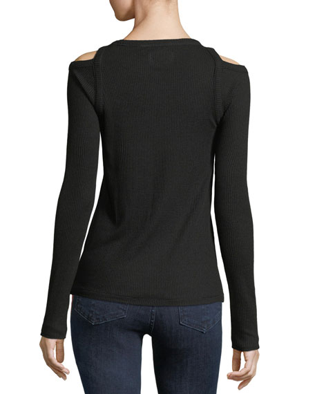 Image 3 of 5: Rosalind Crewneck Long-Sleeve Rib-Knit Sweater