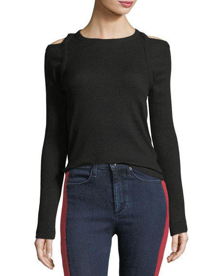 Image 1 of 5: Rosalind Crewneck Long-Sleeve Rib-Knit Sweater