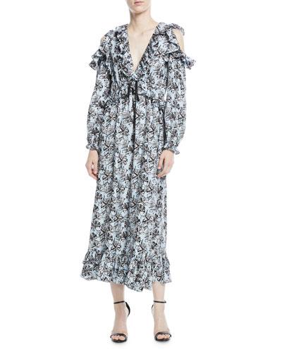 Orchid-Print V-Neck Silk Ruffled Maxi Dress