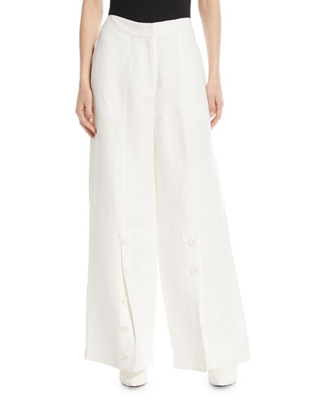Button-Down Wide-Leg Pants