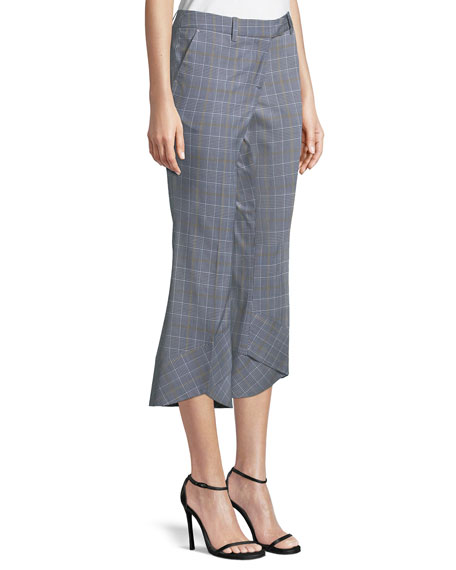 Robert Rodriguez Plaid Crop Flare-Hem Trousers