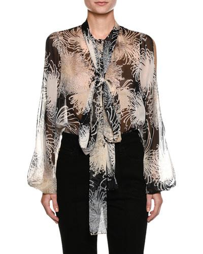 Tie-Neck Floral-Print Silk Blouse