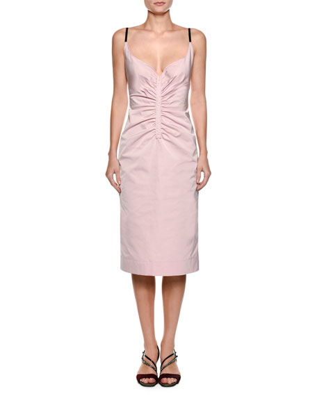 Sleeveless Ruched Duchess Satin Slip Cocktail Dress