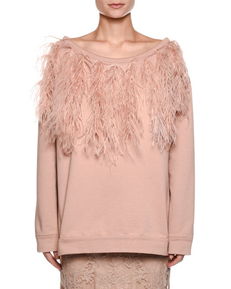 Bateau-Neck Long-Sleeve Sweatshirt w/ Feather Trim
