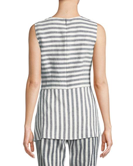 St. John Collection Stretch-Linen Multi-Stripe Twill Asymmetric Shell