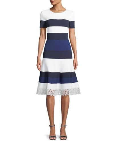 Striped Luxe Sculpture Knit Lace-Trim Dress