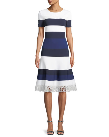 St. John Collection Striped Luxe Sculpture Knit Lace-Trim