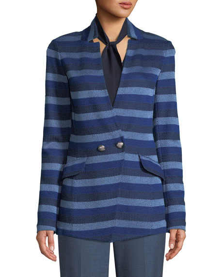 Held Stitch Overlay Striped Knit Jacket