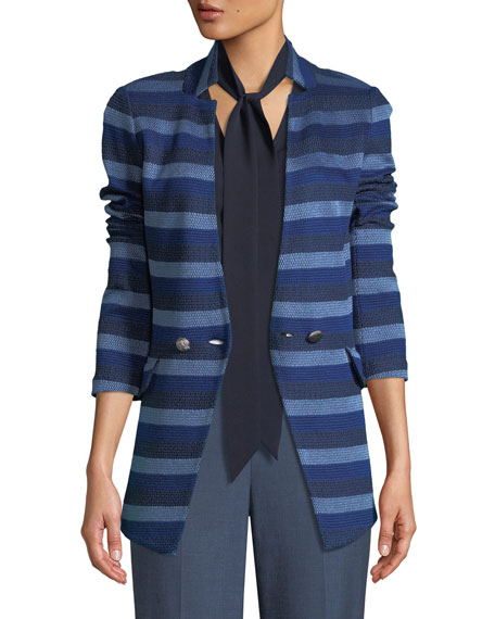 St. John Collection Held Stitch Overlay Striped Knit