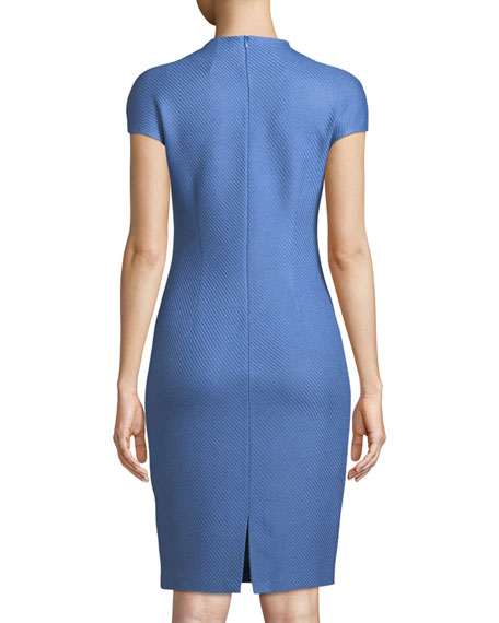 Sarga Tie-Neck Cap-Sleeve Sheath Dress