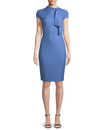 Sarga Tie-Neck Cap-Sleeve Sheath Dress