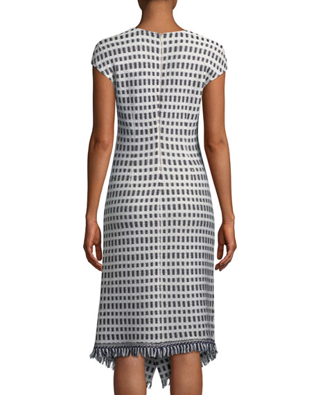 Thatched Grid Knit V-Neck Dress