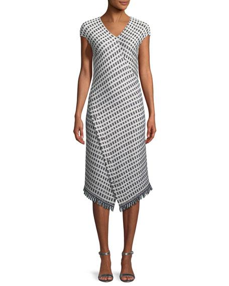 St. John Collection Thatched Grid Knit V-Neck Dress